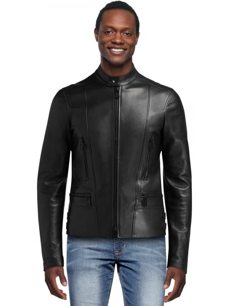 Men's Slim-Fit Black Nappa Leather Moto Jacket
