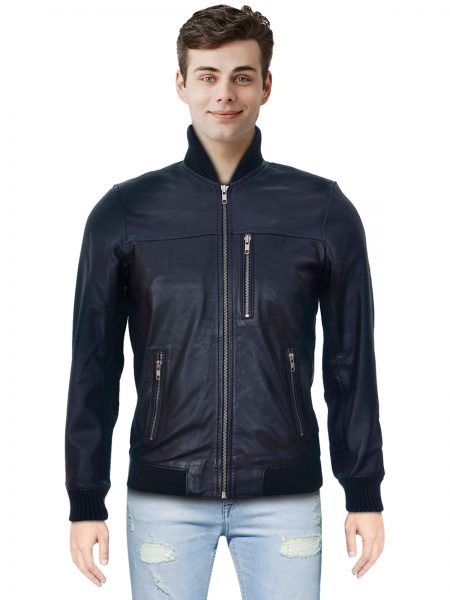 Mens Navy Leather Jacket Brand New