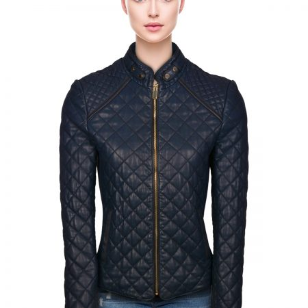 Navy Quilted Leather Jacket
