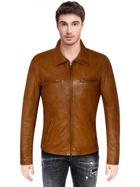 Moto Brown Biker Jacket