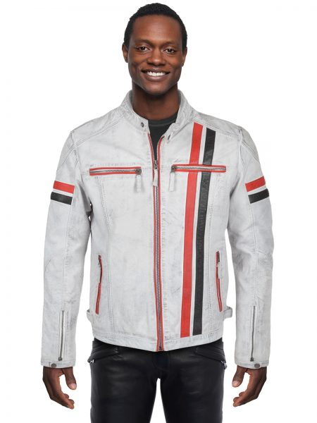 White Leather Berlin Style Biker Jacket