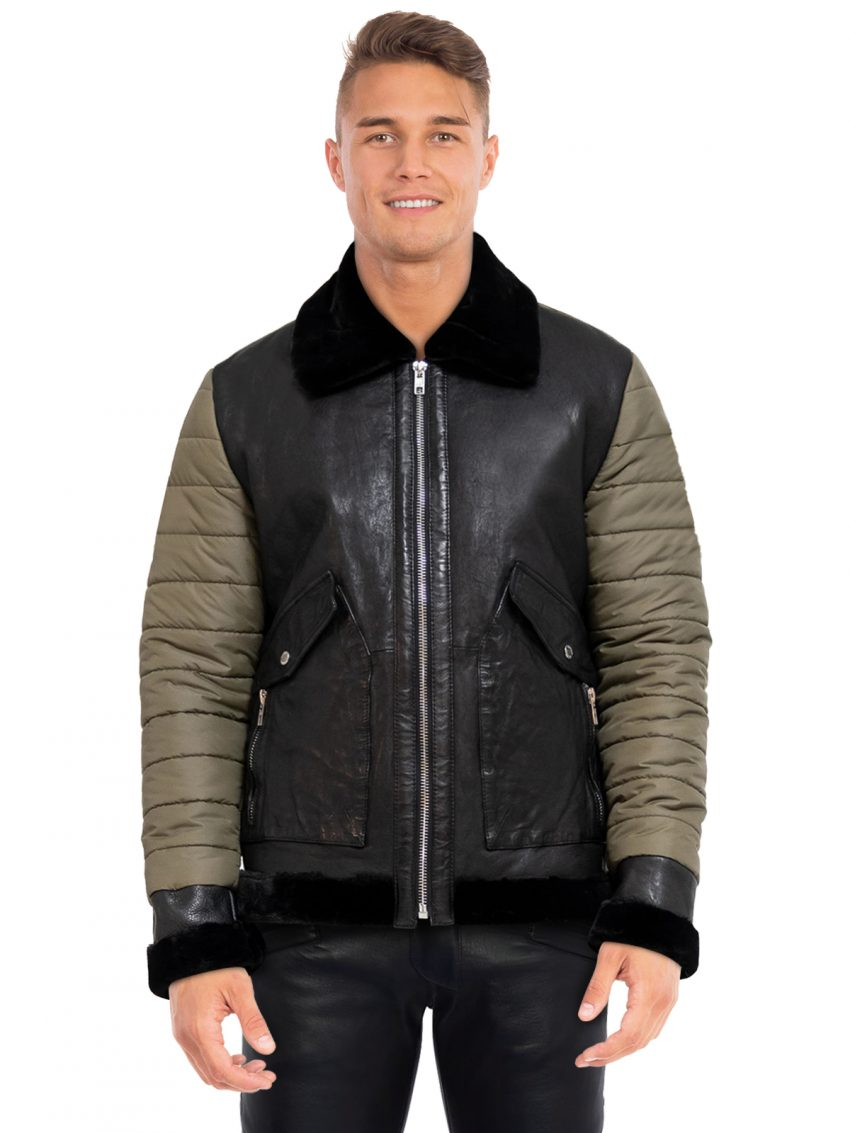 Olive Black Leather Jacket