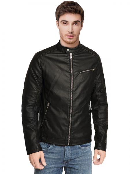 Faux Biker Leather Jacket