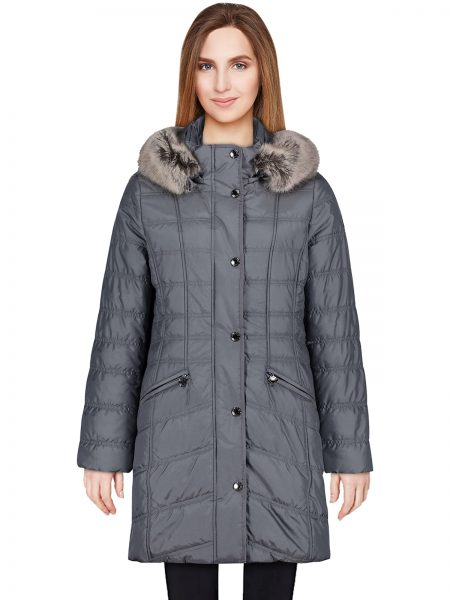 Grey Puffer Hooded Coat