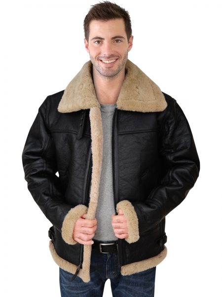 Sheepskin bomber leather jacket for men