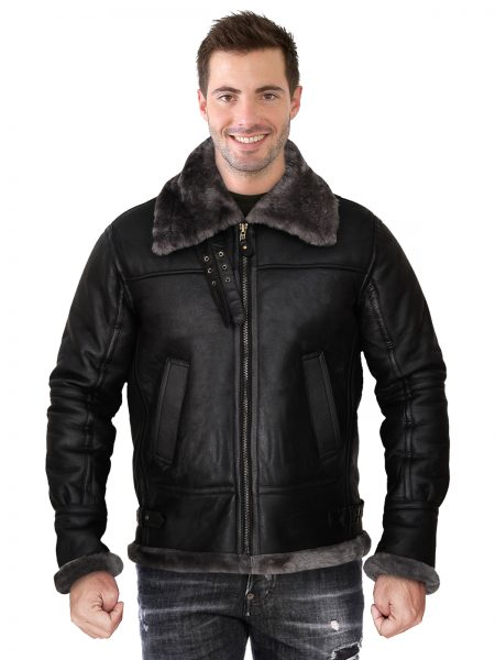 Men Black Shearling Jacket With Hoodie