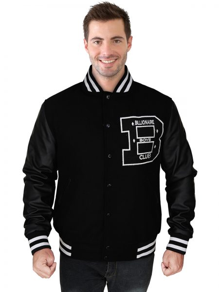 Black Varsity Faux Leather Jacket