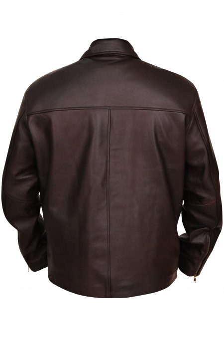 Men's Glossy Brown Genuine Leather Jacket