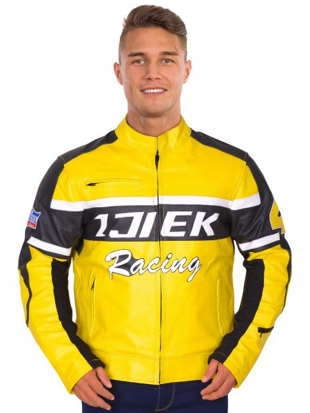 Men's Racer Mustard Yellow Leather Jacket