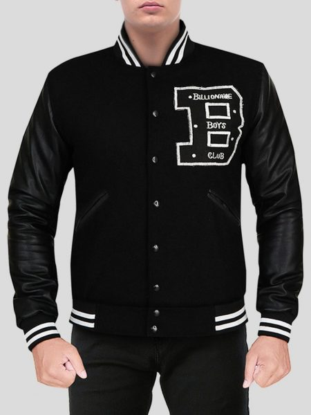 Men's Captivating Deep-Black Varsity Jacket