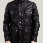 Men's Fussy Jet-Black Real Leather Trucker Jacket