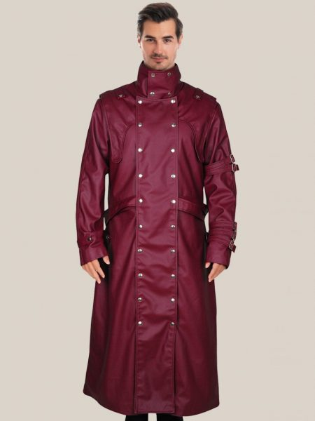 Men's Glossy Maroon Faux Leather Trench Coat