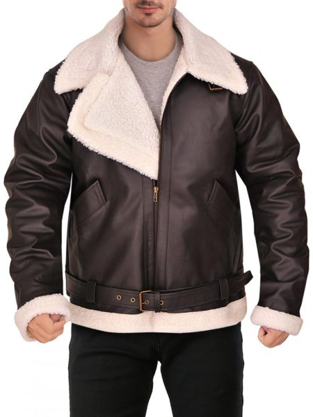 Men's Gusto Brown Leather Shearling Jacket
