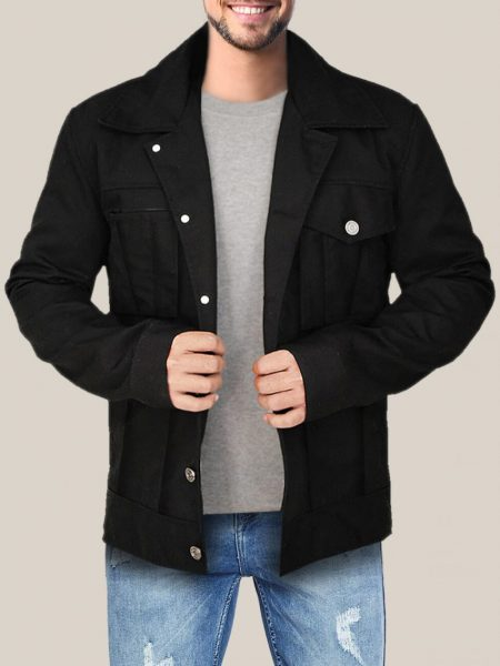 Men's Majestic Black Cotton Trucker Jacket
