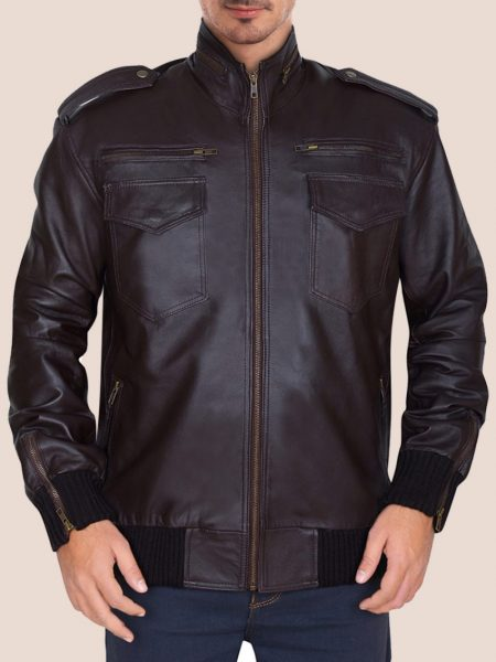 Men's Supreme Brownish Leather Bomber Jacket