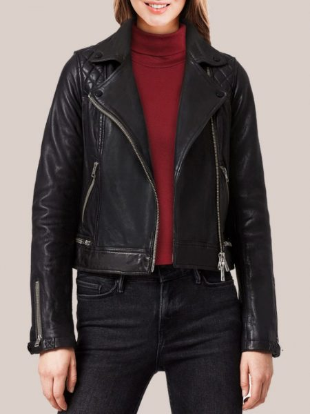 Women's Splashy Black Leather Biker Jacket