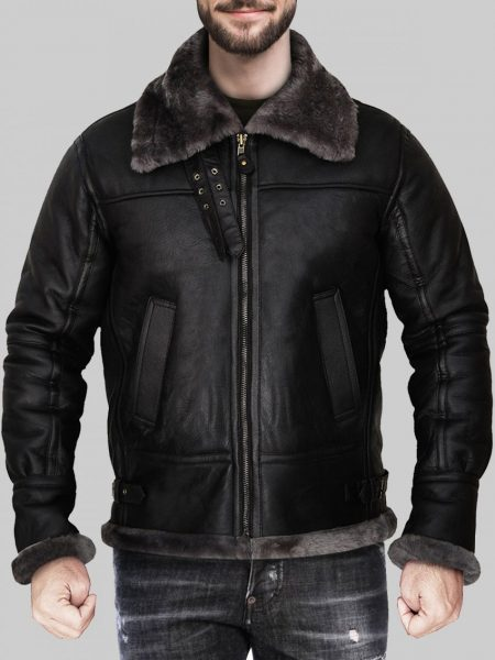 Men's Lavish Black Shearling Jacket With Hoodie