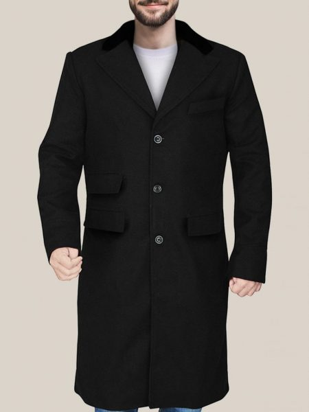 Men's Sophisticated Black Wool Trench Coat